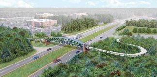 Artist's conception of the pedestrian bridge across Ga. Highway 54 near Piedmont Fayette Hospital. File photo.