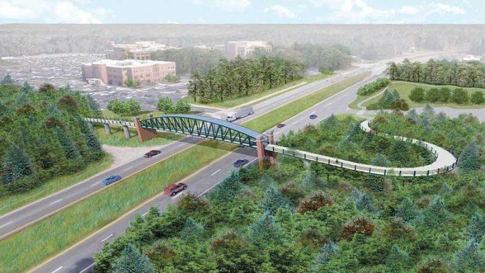 Artist's conception of the pedestrian bridge across Ga. Highway 54 near Piedmont Fayette Hospital. File photo.