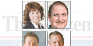 Above, clockwise from top left, Mayor Vanessa Fleisch, former Councilman Eric Imker, former Mayor Harold Logsdon and aviation company executive Kevin Madden. Photos/Submitted.