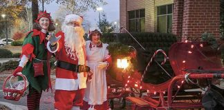 Santa, Mrs. Claus and the Elf will once again visit Piedmont Fayette's Great Tree Lighting. Photo/Piedmont Fayette Hospital.