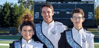 Starr's Mill Panther Pride Marching Band members, from left, Camber Bransky, Zach Garcia and Kevin Allen will perform in the Macy's Great American Marching Band Thanksgiving Day. Photo/Submitted.