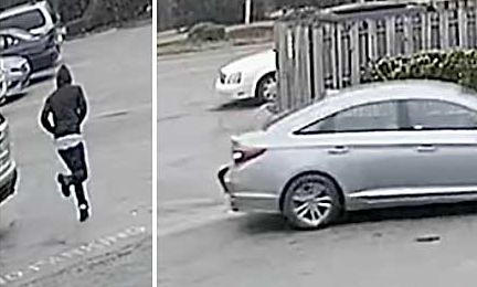 From video surveillance, Tyrone police have photos of the robber running from the auto parts store (L) and the robber in his getaway car that traveled south from Tyrone after the robbery. Photo/Ben Nelms.