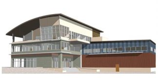 Graphic of planned headquarters building.