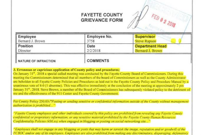Screen grab of grievance form filed by 9-1-1 Director Bernard Brown.