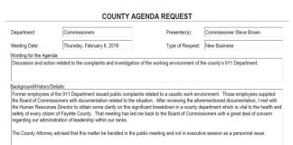 Screen grab of agenda item for the Feb. 8 meeting of the Fayette County Commission.