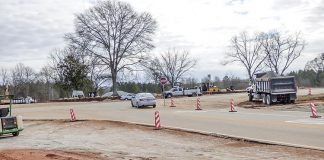 Fayetteville's newest roundabout is located at the intersection of Veterans Parkway, Sandy Creek Road and Arthur Rank Avenue. Photo/Ben Nelms.