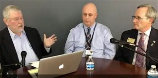At right, Dr. Ted Lombard, Coordinator for Safety, Athletics and Discipline, and (center) Mike Sanders, Assistant Superintendent of Operations answer questions from publisher Cal Beverly about school safety issues during The Citizen Facebook Live telecast March 8.