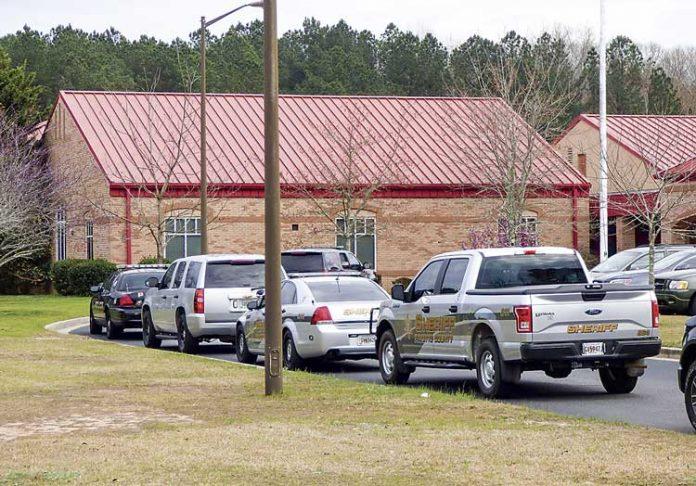 The lockdown last week of Fayetteville's Spring Hill Elementary School brought a large law enforcement presence. Photo/Ben Nelms.