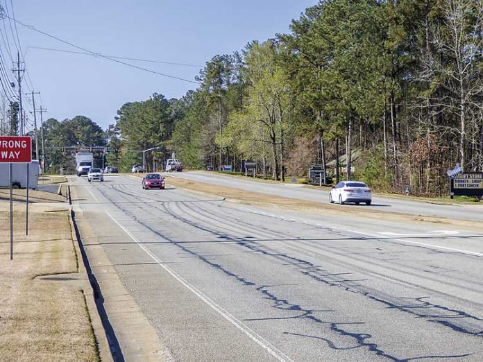 This stretch of Ga. Highway 54 just east of Peachtree City will get new blacktop in the next few months. Photo/Ben Nelms.
