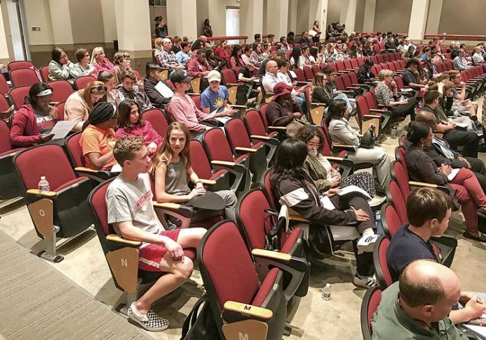 Nearly 300 Whitewater High School students and parents attended a school safety forum on April 10. Photo/Ben Nelms.