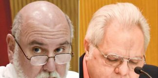 Fayette County Commission Chairman Eric Maxwell (L) and Vice Chairman Randy Ognio (R). File photos.