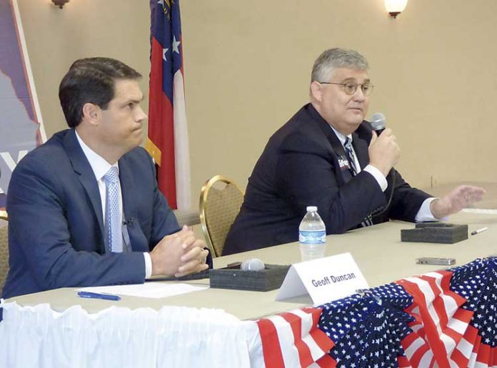 Georgia lieutenant governor candidates Geoff Duncan (L) and David Shafer answer questions at the Fayette forum. Photo/Ben Nelms.