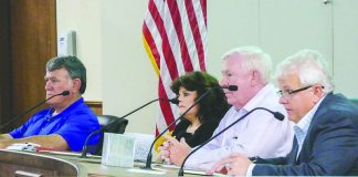 Peachtree City Council members hear discussion about garbage pickup at the council retreat May 1. Above, L-R, Mike King, Mayor Vanessa Fleisch, Terry Ernst and Phil Prebor. Photo/Ben Nelms.