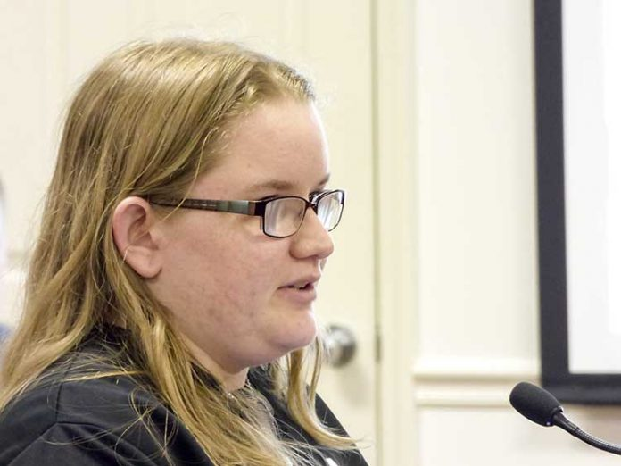 Samantha Frazier, 17, addresses the Fayette County Board of Education about her experiences with self-image problems. Photo/Ben Nelms.