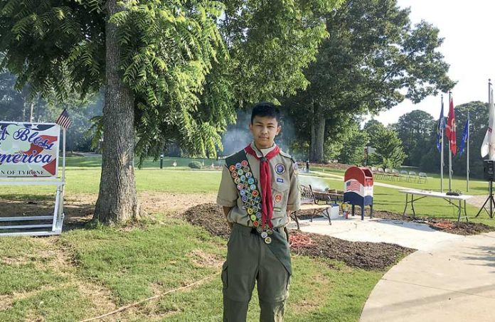 Marco Pagsisihan, a rising sophomore at Trinity Christian School in Sharpsburg, installed a flag retirement box and bench in Veterans Memorial Park in Tyrone as part of his Eagle Scout service project. Photo/Submitted.