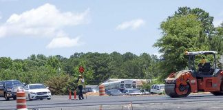 Work on the new intersection at Ga. Highway 92 North, Westbridge and Veterans Parkway is nearly complete, with the new intersection linking to Fayetteville's west side expected to open in July. Photo/Ben Nelms.