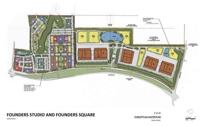 The Founders District studio and mixed-use project along Ga. Highway 74 in Tyrone is currently in the state DRI process. The project is expected to go before the Tyrone Town Council for consideration late summer or fall. Graphic/ Founders District.