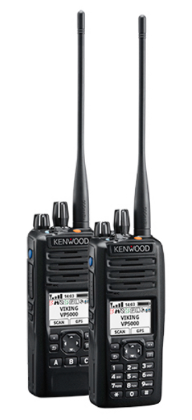 Above, Viking VP5000 portable public safety radios. Photo/E.F. Johnson Co.