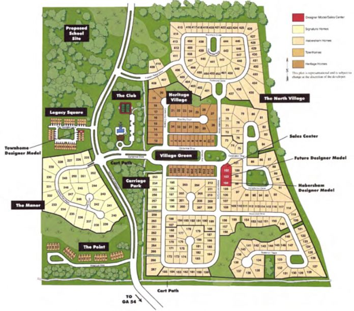 Map of proposed modification of the Everton subdivision in Wilksmoor Village. Townhomes are shown in brown. Graphic/Peachtree City.