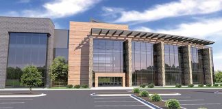 The lot across from World Gym on Lexington Circle in Peachtree City will be the new home of Peachtree City-based SMC3, a 3-story office building of up to 80,000 sq. ft. Rendering/Jefferson Browne.