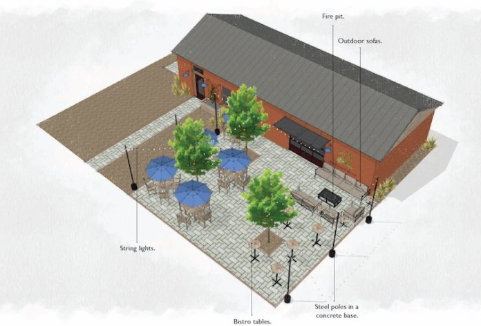 Graphic shows proposed brewery on Lee Street across from Fayetteville City Hall. Graphic/City of Fayetteville.