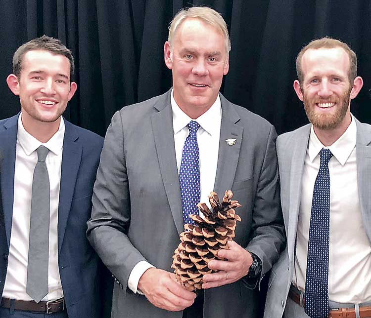 Will and Jim Pattiz with U.S. Interior Secretary Ryan Zinke (C). Photo/Submitted.