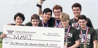 The MMRT drone team at McIntosh High School celebrate successfully defending their national championship title at the UAS4STEM National Championship. (L-R) Sam Triplett, Luke Wonderley, Robert Palla, Matthew Harmon, Noah Statton, Adrien Richez, and Logan Connerart. Photo/Submitted.