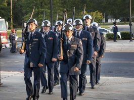 Sandy Creek High School's Air Force JROTC flight honors those lost in the 9/11 attacks at their first annual 9/11 Commemorative Ceremony. Photo/Submitted.