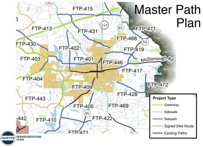 A conceptual rendering of the Fayette County Master Path Plan, specifically geared to the Fayetteville area, was presented Oct. 18 before the Fayetteville City Council. Graphic/Fayetteville.