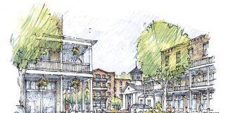 "Designer Jim Strickland's ""dream"" of a redeveloped Aberdeen Village Center. Graphic/Peachtree City."