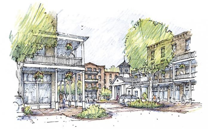 "Designer Jim Strickland's ""dream"" of a redeveloped Aberdeen Village Center. Graphic/Peachtree City."
