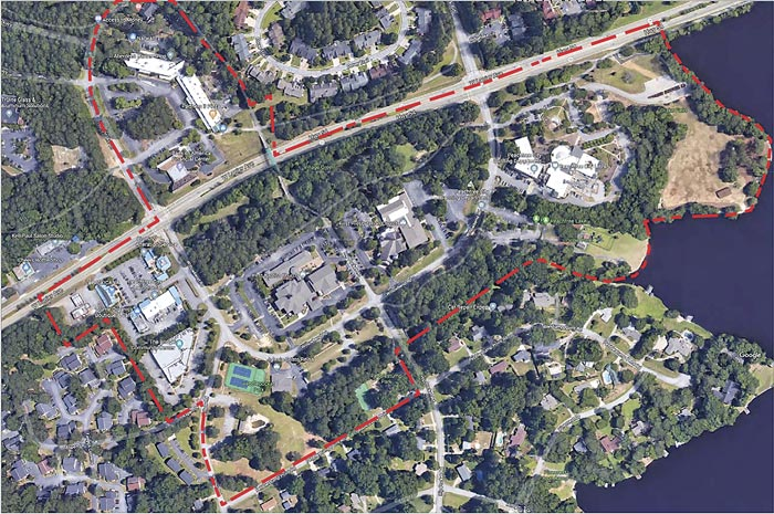 In aerial map above, red dotted line shows proposed area along Ga. Highway 54 that would be a potential redeveloped city center. Graphic/Peachtree City.