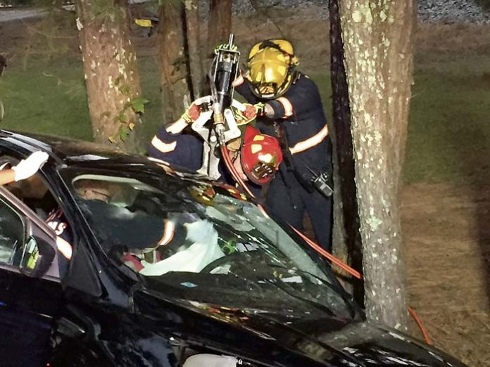 Members of the Fayette County Fire and Emergency Services Shift B on Oct. 15 extricated one person trapped and another person pinned in vehicles on Senoia Road, south of Dogwood Trail. Deputy Chief Tom Bartlett said both people were transported to a trauma center. Photo/Fayette County FES.