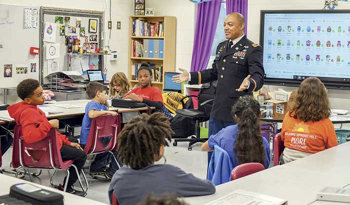 Fifth grade students at Spring Hill Elementary enjoy a special question and answer session from veteran Christopher Duckworth. Photo/Submitted.