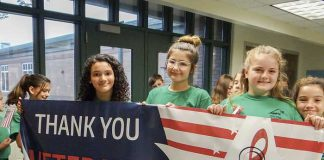 Inman Elementary School students on Nov. 9 hosted more than 100 veterans in celebration of Veterans Day. The event included a parade and a presentation to the school by the James Waldrop Chapter of the Daughters of the American Revolution. Photo/Submitted.