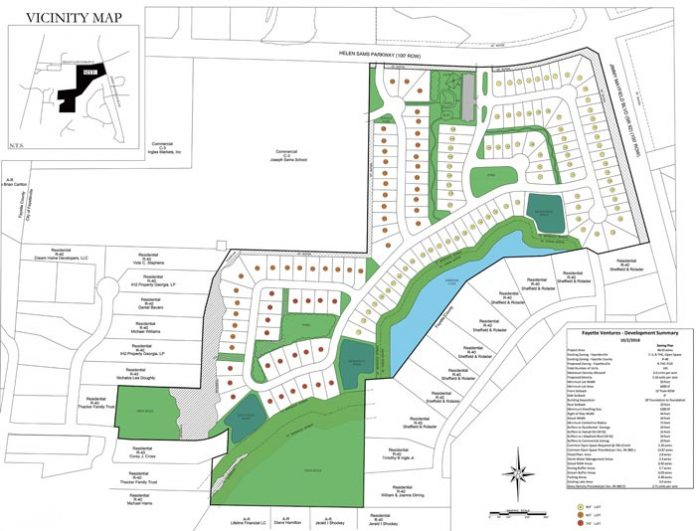 A concept plan by Fayette Ventures would establish a 145-home subdivision along the Ga. Highway 92 Connector on Fayetteville's south side. Rendering/City of Fayetteville.