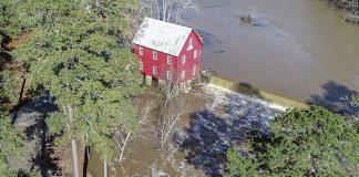 Whitewater Creek lives up to its name at Starr's Mill — The recent, seemingly unending downpours left many areas of Fayette County with heavy runoff during late December and early January. One of those areas was Starr's Mill adjacent to Ga. Highway 85 South. Local resident Bob Ross using a remote-controlled drone on Jan. 4 captured the scene above the old mill, a much-photographed Fayette County landmark. Photo/Bob Ross.