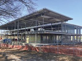 Construction is progressing on the Piedmont Wellness Center, located at the Pinewood Forest development on Veterans Parkway in Fayetteville. Photo/Ben Nelms.