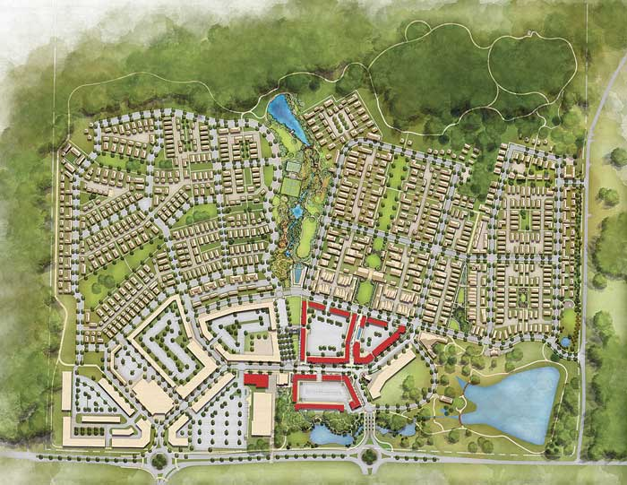 Ground has been broken on Phase 1 of the massive Pinewood Forest development on Veterans Parkway in Fayetteville. The areas outlined in red represent three, 4-story retail/apartment buildings near Veterans Parkway (at bottom) and an office building, in solid red, adjacent to the Piedmont Wellness Center now under construction. The large building nearest to Veterans Parkway will include Fayette County's first parking deck situated in the interior area. Rendering/Pinewood Forest.