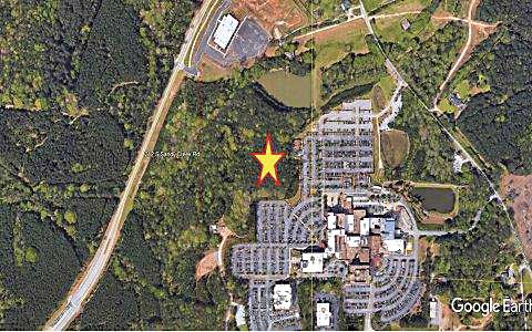 The star on the map above shows the location of the proposed parking area for Piedmont Fayette Hospital. Map/City of Fayetteville.