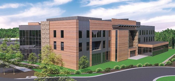The site now under construction across Lexington Circle from World Gym in Peachtree City will be the site of the 80,000 sq. ft. headquarters of Peachtree City-based logistics technology company SMC3. Rendering/Jefferson Browne Gresham Architects.