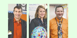 Fayette Teacher of the Year finalists (L-R) Fayette County High math teacher Bob Spiller, Starr's Mill High English teacher Jillian Bowen, and Robert J. Burch Elementary third grade teacher Michael Wamsley. Photos/Fayette County School System.