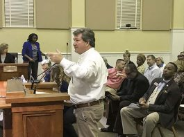 Developer Bob Rolader at the Feb. 7 meeting of the Fayetteville City Council. Photo/Ben Nelms.