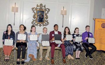 Pictured, from left, are: Ashley Fukuyama, Starr's Mill High School; Janae Walker, Flat Rock Middle School; Ariel Eaves, Bennett's Mill Middle School; Wesley Roberts, Whitewater Middle School; Gregory Smith II, Fayette County High School; Juliana Pickard, McIntosh High School; Ainsley Allen, Rising Starr Middle School and Kade Sisk, J.C. Booth Middle School. Photo/Submitted.