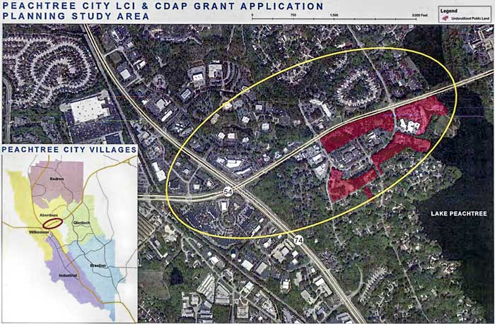Area of Peachtree City included in the city center study. Photo/Peachtree City.