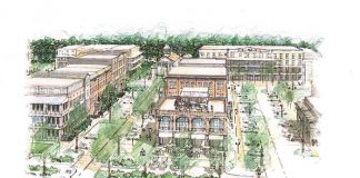 Peachtree City's original shopping center in Aberdeen Village is reimagined in this rendering presented to the Planning Commission Feb. 25. The view is east looking across Northlake Drive. In the foreground is the relocated Partners II restaurant, topped by Y-Knot Bar and an open eating area on the rooftop. The current Bank of America building, at right, is expected to remain unchanged. The other 3-and 4-story buildings will house the projected 190 apartments. Other retail space will be limited to 5,000 square feet. A steepled building at top left will house a community center for the apartment residents. Graphic/PTC Planning Commission.