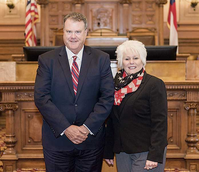 Chief Judge Christopher Edwards (L) stands with state Rep. Karen Mathiak (R-Griffin), who represents a portion of south Fayette County. Photo/Submitted.