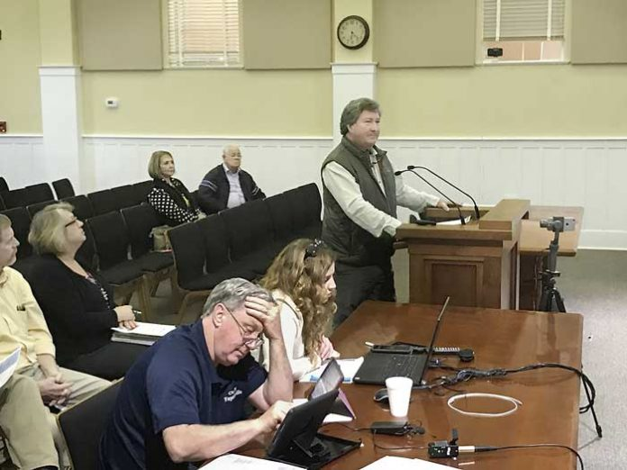 Developer Bob Rolader answers questions from the Fayetteville City Council. Photo/Ben Nelms.