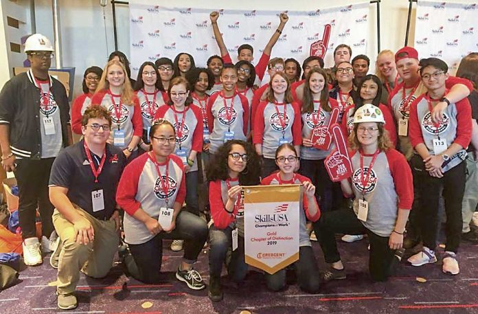 The Sandy Creek High chapter displays their fifth consecutive SkillsUSA Georgia Gold Chapter of Distinction award, and is under consideration as one of 24 National Models of Excellence. Photo/Submitted.