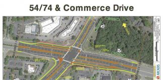 Illustration of displaced left turn at Ga. highways 54-74. Peachtree City graphic.